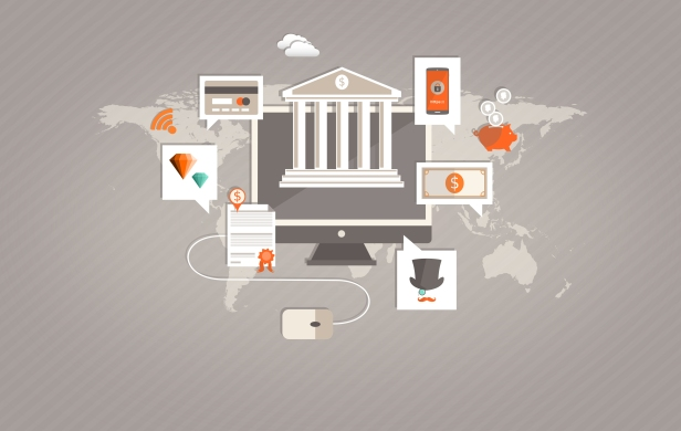Internet Banking and Mobile Payments Illustration
